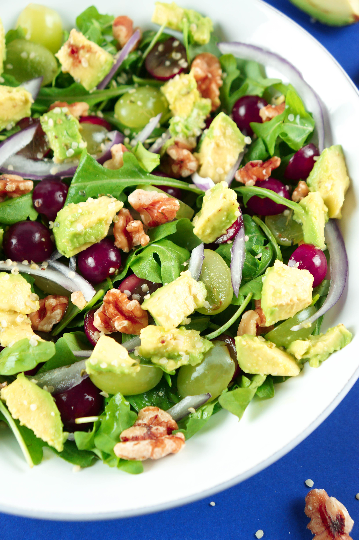 Grape, Avocado, Walnut, Arugula and Hemp Seed Salad